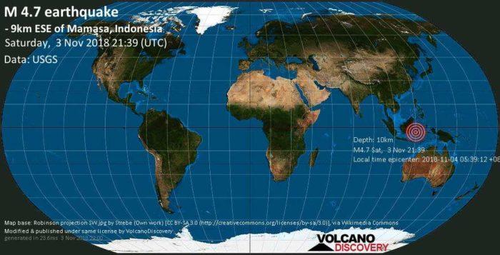 4.7 earthquake strikes Mamasa, Indonesia