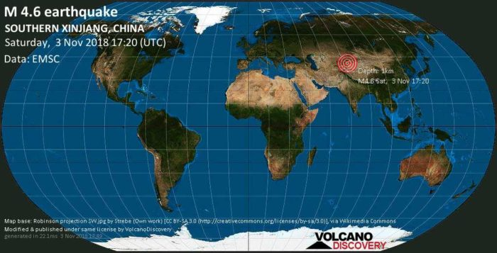4.6 earthquake hits Southern Xinjiang, China